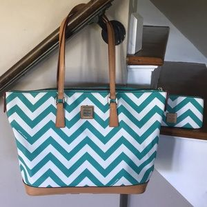Dooney & Bourke Turquoise Stripped Tote